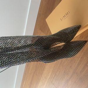 Onika Black Diamante Fishnet Thigh High Heels